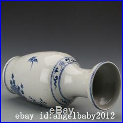 11 China Antique Porcelain Blue white painting flowers and birds Vase A pair
