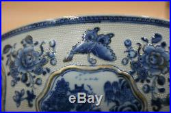 11 Large 18th C. Antique Chinese Porcelain Blue & White with Gilt Painted Bowl