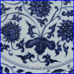 12 China old antique Porcelain Ming Xuande Blue & white Peony Pattern Plate
