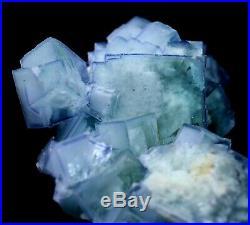 130g Transparent Cube Blue & White Porcelain Fluorite Mineral Specimen/China
