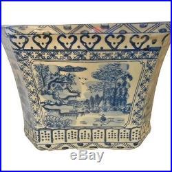 13 Blue and White Hexagonal Porcelain Planter