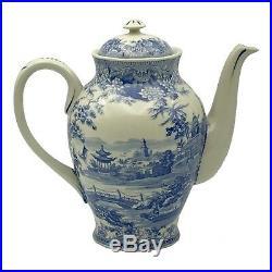 16 Pagoda Blue/White Transferware Porcelain Tea Set with Tray Antique Replica