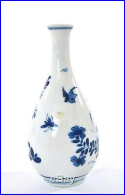 17C Chinese Kangxi Blue & White Porcelain Plum Blossom Bird Bottle Vase