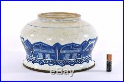 17C Kangxi Chinese Blue & White Crackle Soft Paste Porcelain Censer Bowl Metal