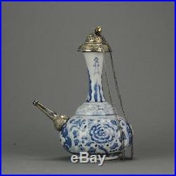 17/18C Chinese Porcelain Blue & White Ghendi Kendi Antique Islamic Silve