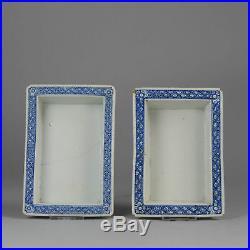 18c Jiaqing Bonsai Blue White Planter Cache Pots Qing Antique China Porcelain