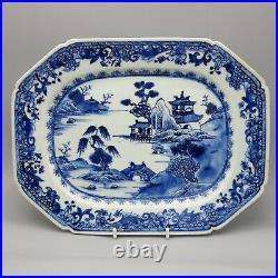 18th C. Chinese Export Porcelain Blue & White Platter