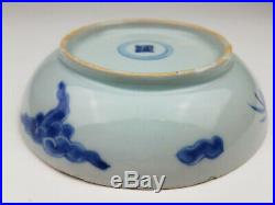 18th Chinese Kangxi Blue White Porcelain Dragon Shallow Bowl Dish with Mark