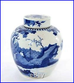 1900's Chinese Blue & White Porcelain Cover Ginger Jar Vase Lady Figure Figurine