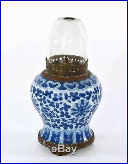 1930's Chinese Blue & White Porcelain Vase Opium Oil Lamp Light Glass Dome