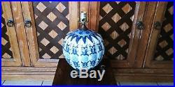 19TH c CHINESE GINGER JAR COBALT BLUE WHITE PUMPKIN PORCELAIN COBALT LAMP 11