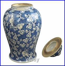 19 Antique Finish Blue and White Porcelain Blue Butterfly Temple Ceramic Jar