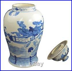 19 Antique Finish Blue and White Porcelain Children Play Temple Ceramic Jar