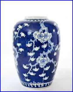 19th Century Chinese Blue & White Porcelain Vase Jar Plum Flower Blossom Mk