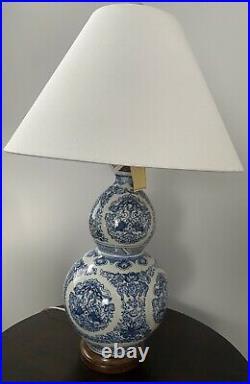 1 Rare New Ralph Lauren Vintage Zen Koi Fish Porcelain Blue White Table Lamps