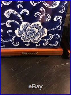 1 Rare Signed Ralph Lauren Lamp Blue White Mandarin Flower Porcelain Finish
