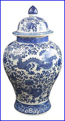 20 Classic Blue and White Porcelain Dragon Temple Ceramic Jar Vase, China Mi