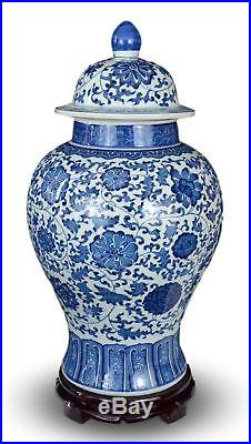 20 Classic Blue and White Porcelain Floral Temple Jar Vase, China Ming Style