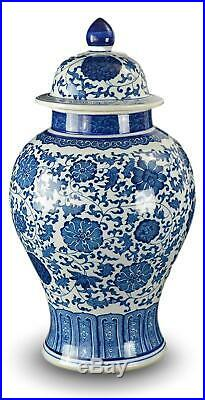 20 Classic Blue and White Porcelain Floral Temple Jar Vase, China Ming Style, J