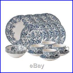 20-piece Blue White Traditional Floral Round Ceramic Stoneware Dinnerware Set