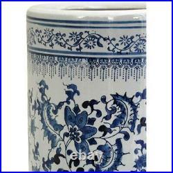24 Floral Blue & White Porcelain Umbrella Stand Home Antique Design Organizer