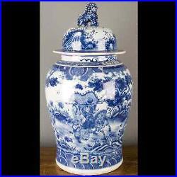 26 Chinese oriental porcelain ginger jar blue & white lion finial warrior
