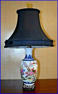 28 Chinese Porcelain Vase Lamp Blue/white Phoenix Asian Oriental Table Lamp