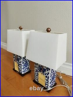 2X RALPH LAUREN Lotus Flower Blue White Chinoiserie Chinese Porcelain Table Lamp
