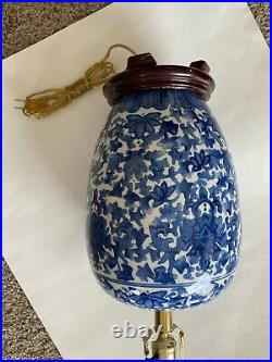 2 Antique Chinese Chinoiserie Blue & White Porcelain Lamps Beautiful Pair