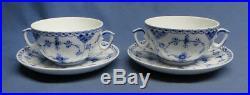 2 Antique Royal Copenhagen Fluted Lace Pattern Soup Bowl Saucer Blue White