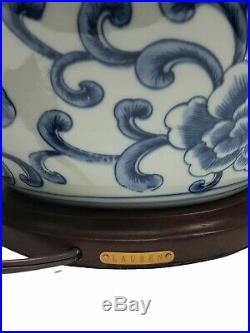 2 Ralph Lauren 3 Way Table Lamp Blue White Ginger Jar Chinoiserie Asian Floral