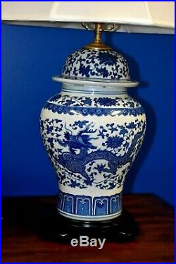 30 Pair Of Blue & White Chinese Dragon Porcelain Temple Jar Vase Lamps Asian