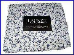 4PC Ralph Lauren King Sheet Set White Blue Floral Bitsy Extra Deep Porcelain NEW