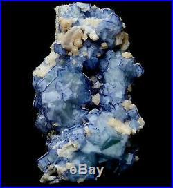610.4g Rare! Cube Blue & White Porcelain Fluorite & Calcite Specimen/China