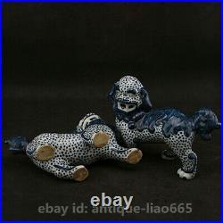 6.3Chinese Jingdezhen Blue White Porcelain Foo Fu Dog Guardion Lion Statue Pair