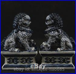 6.3 Collect Chinese Ceramics blue White Porcelain Foo Fu Dog Lion Pair Statue