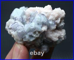 96g Rare! Cube Blue & White Porcelain Fluorite & Dolomite Mineral Specimen