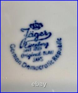 9 PIECE Jager Eisenberg Germany BLAU SAKS Blue & White Porcelain TEA SET