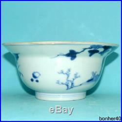 ANTIQUE CHINESE PORCELAIN18thc BLUE WHITE UNDER-GLAZED KANGXI KLAPMUTS BOWL