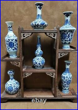 ANTIQUE GIFT SET (Classic White and Blue Porcelain Vase of 6 &Wood stand)