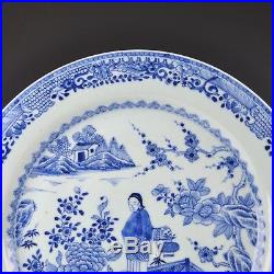 A Chinese Blue & White Porcelain 18th Ct Qianlong Period Charger Lady In Garden