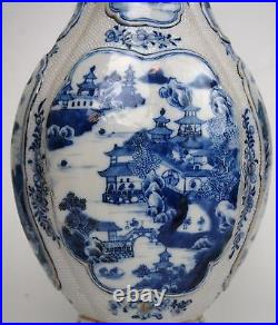 A Nice Blue and White'Landscape' Vase, Trimmed handles, 18th Century