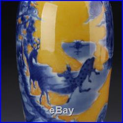 A Pair China antique Porcelain qing kangxi yellow bottom blue & white deer Vase