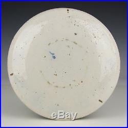 A Pair Delft Blue White 18th Ct Ceramic Plates After Chinese Kangxi Aster Decor