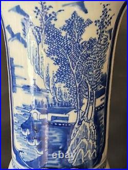 A Pair Of Massive Chinese Blue And White Porcelain Trumpet Vase Marked Kangxi
