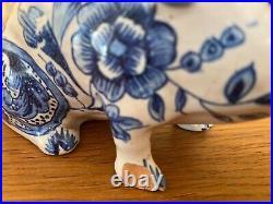 A Rare 18thC Blue And White Porcelain Pig. Spill Holder. A/F