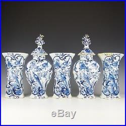 A Wonderful Antique 18th Century Dutch Delft Blue & White Cabinet Garniture Set