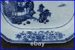 A antique Chinese blue and white export porcelain platter period of Qianlong