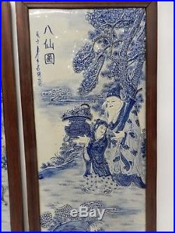 Amazing Set of 4 Large Chinese Blue and White Porcelain Plaques of Immortals 34
