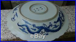 Antique19c Chinese Large Blue&white Porcelain Dragons Fighting For Pearl Charger